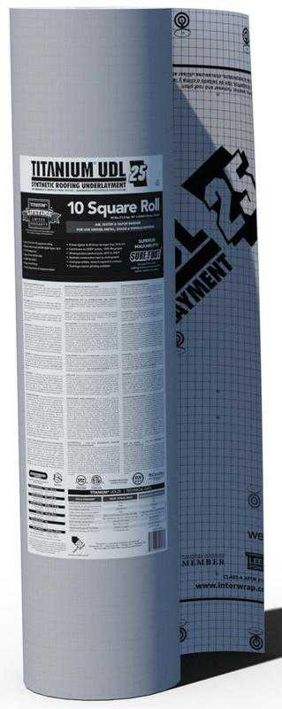 Interwrap Corp Titanium All Purpose Roof Underlayment Roll, 250 ft L x 48 in W x 15 mil T, Synthetic