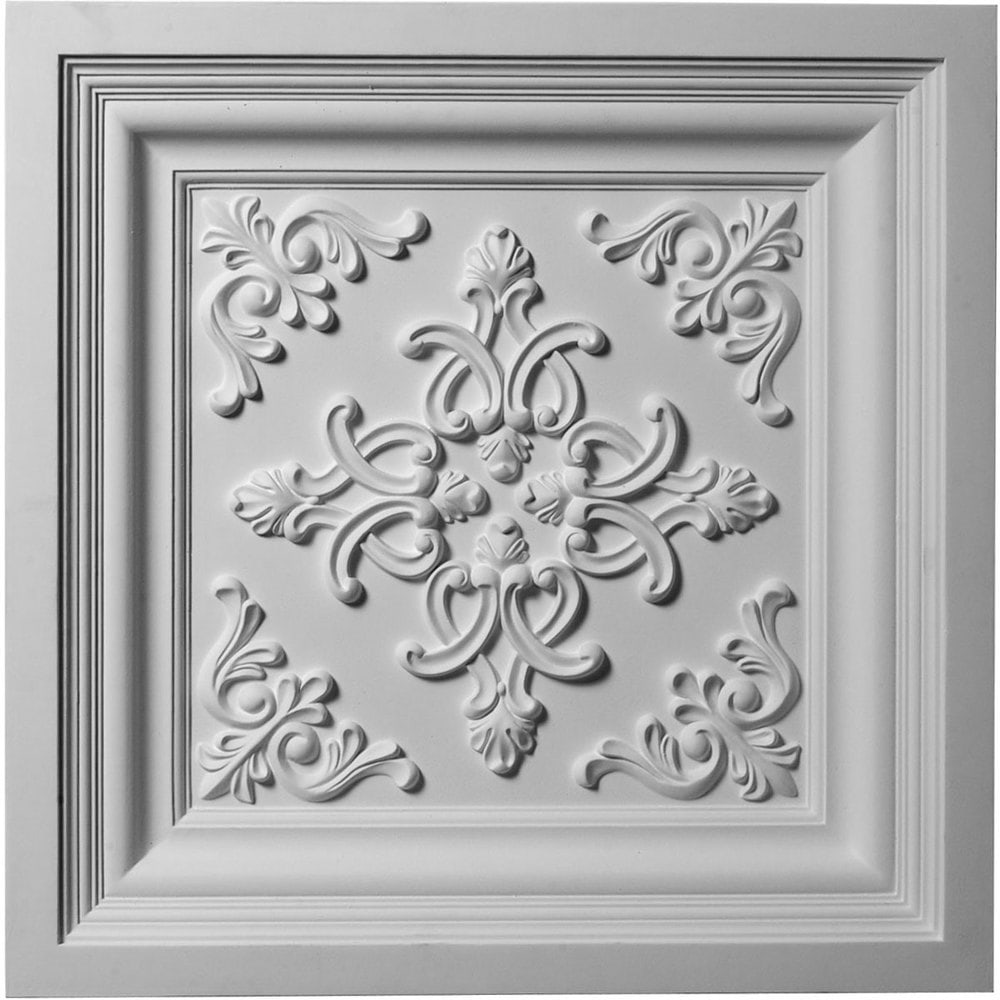 Ekena Millwork Decorative Polyurethane Ceiling Tiles/Kinsley / Ceiling Tile / 24'W x 24'H x 2 3/8' / CT24X24KI / Primed