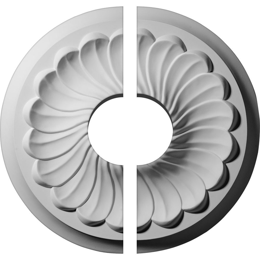 Ekena Millwork Flower Spiral Ceiling Medallion/Unfinished Polyurethane / Two Piece (Fits Canopies up to 3 1/2') / 12 1/4'OD x 3 1/2'ID x 2 1/4'P / CM12FL2-03500