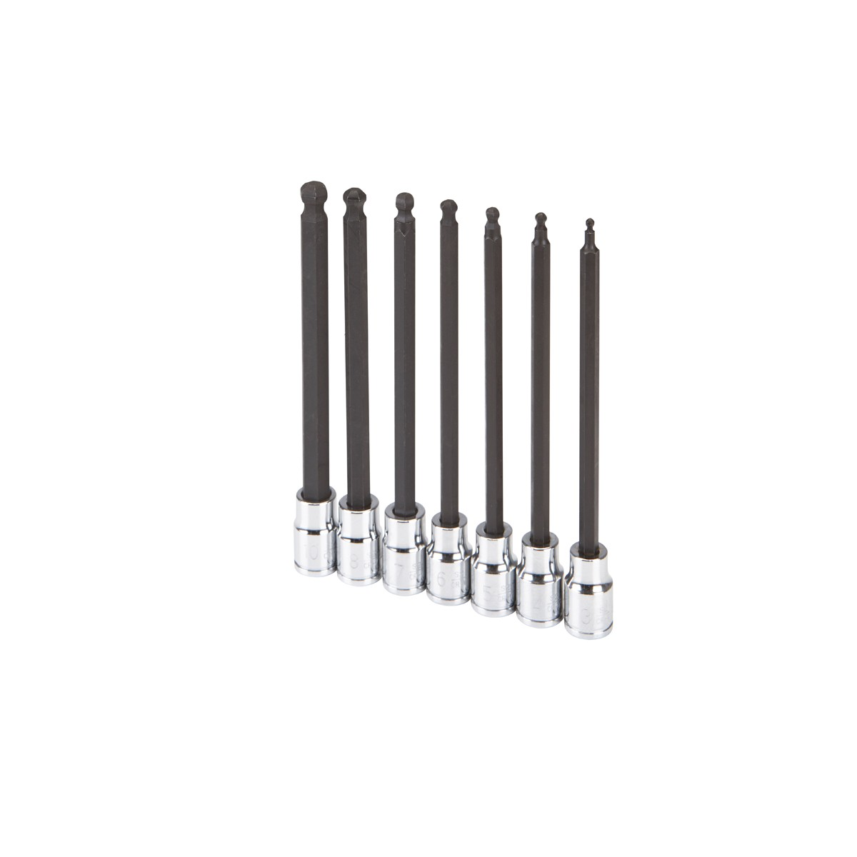 7 Pc 3/8 in. Drive Metric Long Reach Ball Head Hex Socket Set